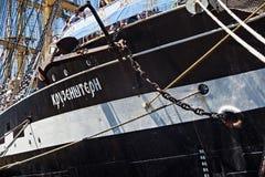 KALININGRAD ROSJA, CZERWIEC, - 19, 2016: Widok dziejowy barque Kruzenshtern przeor Padua w Kaliningrad porcie morskim zdjęcia royalty free