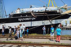 KALININGRAD ROSJA, CZERWIEC, - 19, 2016: Widok dziejowy barque Kruzenshtern przeor Padua w Kaliningrad porcie morskim obraz royalty free