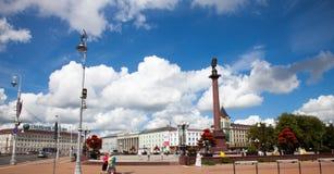 KALININGRAD, ROSJA - 02 SIERPIEŃ, 2016: Widok zwycięstwo kwadrat Kaliningradï ¿ ½ s centrum miasta, Rosja Zdjęcia Stock
