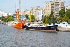 Kaliningrad, Rosja Statków eksponaty przy cumowaniem muzeum Światowy ocean Zdjęcie Stock