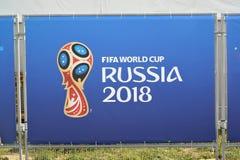 Kaliningrad, Rusland De reclame van banner van de Wereldbeker van FIFA van 2018 De Wereldbeker van FIFA in Rusland Stock Foto