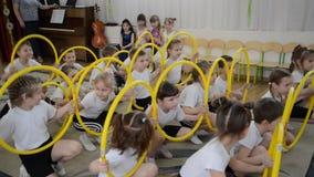 Kaliningrad, Rusland E Ochtendprestaties in kleuterschool stock footage
