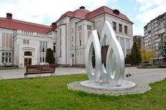 Kaliningrad, Rusland Een gedenkwaardig teken ter ere van verjaardag 100 van Gumbinnensky-slag tegen Historische en kunstmuseu Stock Foto