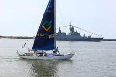 Kaliningrad, Rusland - Juni 29, 2018: Dag van de Russische Marine Nationale Zeeparade in Baltiysk-stad stock foto's