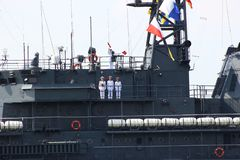 Kaliningrad, Rusland - Juni 29, 2018: Dag van de Russische Marine Nationale Zeeparade in Baltiysk-stad stock foto