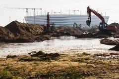 Kaliningrad-Rusland, 28 September, 2017: Bouw van een voetbalstadion voor de wereldbeker van 2018 Royalty-vrije Stock Afbeeldingen