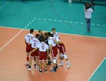 Kaliningrad, Rusland Spelers van een nationaal team van Polen vóór spel royalty-vrije stock fotografie