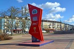 Kaliningrad, Rusland Uren van aftelprocedure van tijd voorafgaand aan de Wereldbeker van FIFA van FIFA van 2018 in Rusland Royalty-vrije Stock Foto