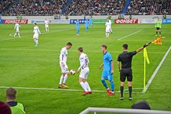 KALININGRAD, RUSSIA. A ball exit in a miss. A football match between the Baltika teams - Krylja Sovetov. Baltic Arena stadium Royalty Free Stock Images