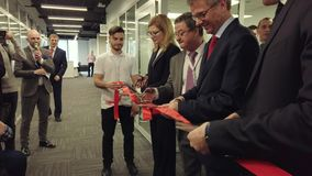 Businessmen are opening a new engineering center stock video footage