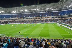 KALININGRAD, RUSSIA. Football field of Baltic Arena stadium Royalty Free Stock Photography