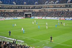 KALININGRAD, RUSSIA. Players of the soccer teams Baltika - Krylja Sovetov in the field of Baltic Arena stadium Royalty Free Stock Image