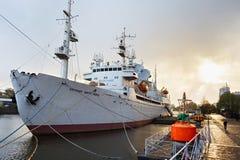 KALININGRAD, RUSSIA - APRIL 25, 2016: Research vessel of space communication `Cosmonaut Viktor Patsayev`. Stock Images