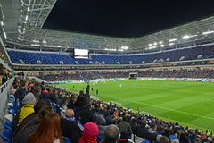 KALININGRAD, RUSSIA. A tribune with fans at a football match between the Baltika teams - Krylja Sovetov. Baltic Arena stadium Royalty Free Stock Photography