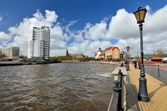 KALININGRAD, RUSSIA - 22 April 2017: View of the Fishing village - Cultural and ethnographic complex, tourist attraction of the royalty free stock photo