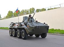 KALININGRAD, RUSSIA. The armored personnel carrier-82A BTR-82A of marines goes to a parade rehearsal in honor of the Victory Day. KALININGRAD, RUSSIA - MAY 05 stock photography