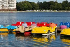 KALININGRAD, RUSSIA - AUGUST 24, 2017: Parking of water bicycles on the Upper Lake in the center of Kaliningrad. Water bicycles are a popular tourist attraction stock photos