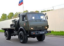 KALININGRAD, RUSSIA. The car KAMAZ transports a robotic complex on a parade rehearsal in honor of the Victory Day. KALININGRAD, RUSSIA - MAY 05, 2018: The car stock photography