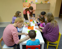 KALININGRAD, RUSSIA. Children do homemade produ Stock Photos