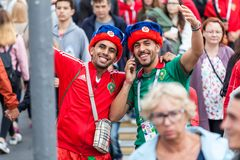 Moroccan football fans before the match with Spain Royalty Free Stock Image