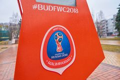 FIFA World Cup Russia 2018. KALININGRAD, RUSSIA - CIRCA MARCH, 2018: close up shot of the championship FIFA World Cup Russia 2018 sing in Kaliningrad stock photo