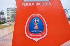 FIFA World Cup Russia 2018. KALININGRAD, RUSSIA - CIRCA MARCH, 2018: close up shot of the championship FIFA World Cup Russia 2018 sing in Kaliningrad royalty free stock photo