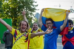 Kaliningrad, Russia, Colombian fans at the 2018 FIFA world Cup Royalty Free Stock Photo
