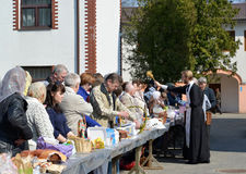 KALININGRAD, RUSSIA. Consecration of believers  and Easter cakes for Easter Royalty Free Stock Image