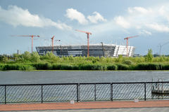 KALININGRAD, RUSSIA. Construction of stadium for holding games of the FIFA World Cup of 2018. KALININGRAD, RUSSIA - JUNE 25, 2017:  Construction of stadium for Royalty Free Stock Photography