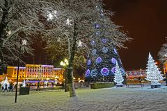 KALININGRAD, RUSSIA. New Year`s lighting at Victory Square in the evening royalty free stock photos