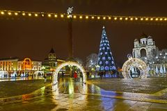 KALININGRAD, RUSSIA. Victory Square in New Year`s furniture stock images