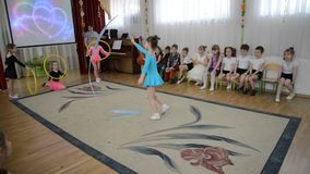 Kaliningrad, Russia. A demonstration sports performance with a tape. A morning performance in kindergarten stock video footage