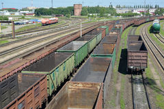 KALININGRAD, RUSSIA. Empty freight trains stand  Kaliningrad-sorting on the ways of railway station. KALININGRAD, RUSSIA - JUNE 23, 2016: Empty freight trains Royalty Free Stock Photo
