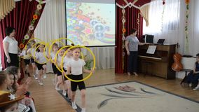 Kaliningrad, Russia. Exit to a demonstration sports performance. A morning performance in kindergarten stock video