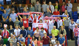 KALININGRAD, RUSSIA. Fans from Poland on a tribune of Sports palace Royalty Free Stock Images