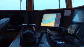 KALININGRAD. RUSSIA - February 2017. Instrument panel of ship in poor daylightt. Close-up. stock footage