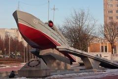 Kaliningrad, Russia - February 10, 2019: Patrol boat monument at the city park stock photos