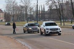 Kaliningrad, Russia - February 10, 2019: Slight accident at main street in winter day stock photo