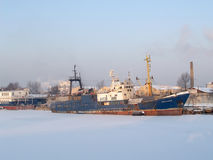 KALININGRAD, RUSSIA. The fishing and search vessel `Strelnya` in the winter in trade seaport. Russian text Strelnya Royalty Free Stock Image