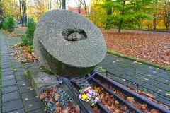KALININGRAD, RUSSIA. Fragment of the memorabe sign Millstones of Repressions. KALININGRAD, RUSSIA - NOVEMBER 03, 2017: Fragment of the memorable sign `Millstones Stock Photography