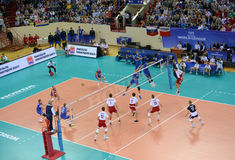 KALININGRAD, RUSSIA. The game moment between the the men's national teams teams of Poland and Russia on volleyball Royalty Free Stock Photo