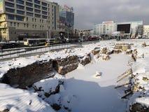 Kaliningrad, Russia - 30 gennaio 2019: Scavo del castello antico alla centrale della città fotografia stock libera da diritti