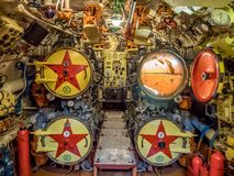 Kaliningrad, Russia - January, 2018. View of torpedo room in submarine museum. royalty free stock image
