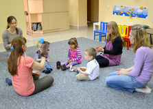 KALININGRAD, RUSSIA. Joint occupation of childrren with parents in studio of creative development Stock Photo