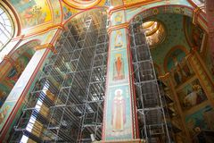 Construction work in the Cathedral of Christ the Saviour. Kaliningrad, Russia - July 11, 2017: Construction work in the Cathedral of Christ the Saviour Stock Photography