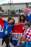 Kaliningrad, Russia, 16 June 2018. Decorated and elegant Croatian fans are preparing for the football match of their team with the Royalty Free Stock Photography