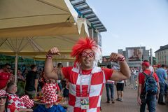 Kaliningrad, Russia, 16 June 2018. Decorated and elegant Croatian fans are preparing for the football match of their team with the Stock Images