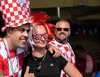 Kaliningrad, Russia, 16 June 2018. Decorated and elegant Croatian fans are preparing for the football match of their team with the. Team of Nigeria. Game at the stock photos