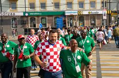 Kaliningrad, Russia, 16 June 2018. Decorated and elegant Croatian and Nigerian fans are preparing for the football match of their Royalty Free Stock Photography