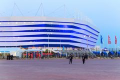 KALININGRAD, RUSSIA - JUNE 16, 2018: Evening view of the modern Kaliningrad football stadium also called Arena Baltika. royalty free stock photo